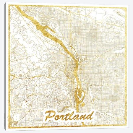 Portland Gold Leaf Urban Blueprint Map Canvas Print #HUR306} by Hubert Roguski Canvas Wall Art