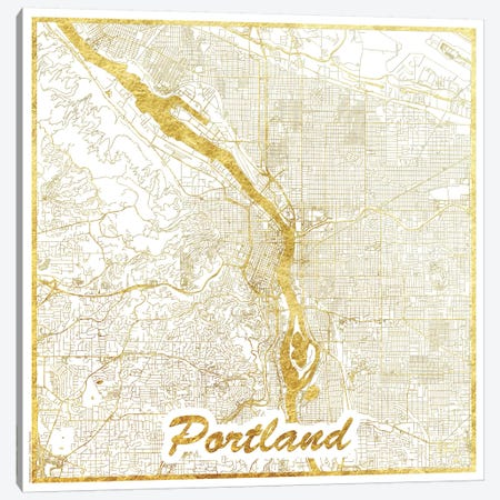 Portland Gold Leaf Urban Blueprint Map Canvas Print #HUR306} by Hubert Roguski Canvas Wall Art