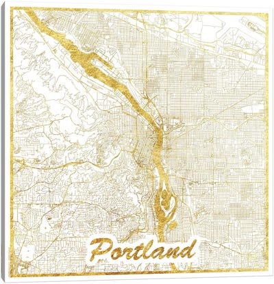 Portland Gold Leaf Urban Blueprint Map Canvas Art Print