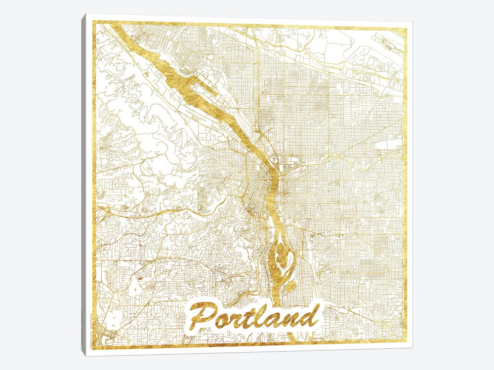 Portland Gold Leaf Urban Blueprint Map by Hubert Roguski 1-piece Canvas Art