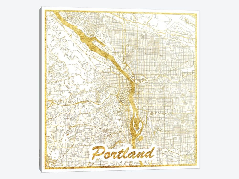 Portland Gold Leaf Urban Blueprint Map by Hubert Roguski 1-piece Canvas Art