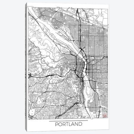 Portland Minimal Urban Blueprint Map Canvas Print #HUR307} by Hubert Roguski Canvas Artwork