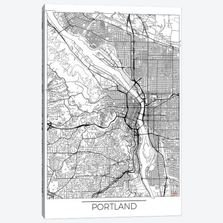 Portland Minimal Urban Blueprint Map Canvas Print #HUR307} by Hubert Roguski Canvas Artwork