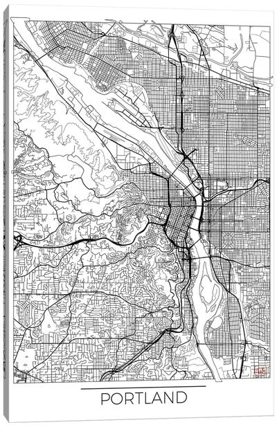 Portland Minimal Urban Blueprint Map Canvas Art Print