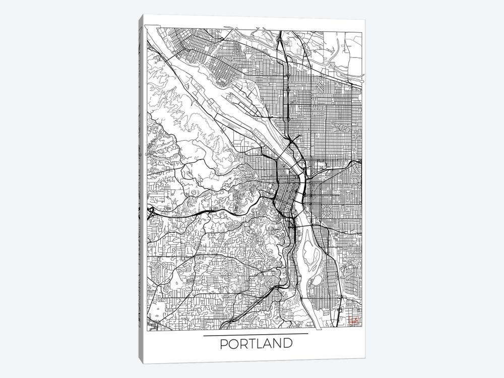 Portland Minimal Urban Blueprint Map by Hubert Roguski 1-piece Canvas Art Print