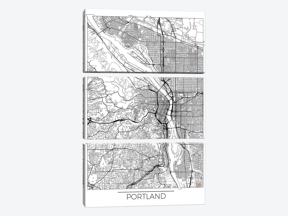 Portland Minimal Urban Blueprint Map by Hubert Roguski 3-piece Canvas Art Print