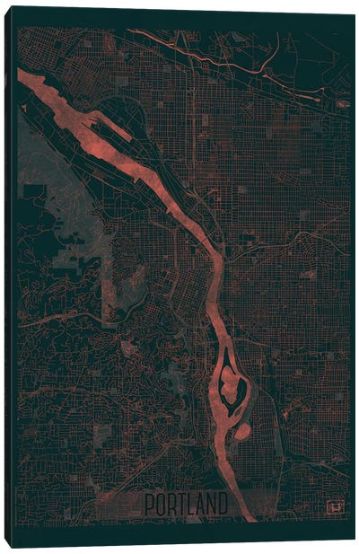 Portland Infrared Urban Blueprint Map Canvas Art Print