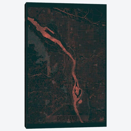 Portland Infrared Urban Blueprint Map Canvas Print #HUR308} by Hubert Roguski Art Print