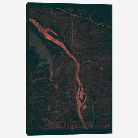 Portland Infrared Urban Blueprint Map Canvas Print #HUR308} by Hubert Roguski Art Print