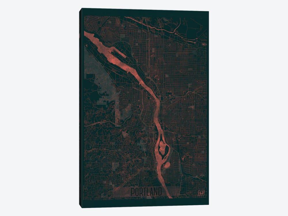 Portland Infrared Urban Blueprint Map by Hubert Roguski 1-piece Canvas Wall Art