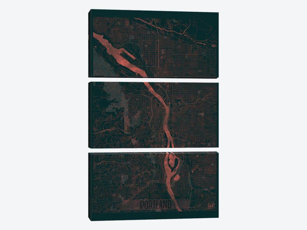 Portland Infrared Urban Blueprint Map by Hubert Roguski 3-piece Canvas Art