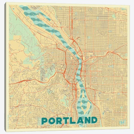 Portland Retro Urban Blueprint Map Canvas Print #HUR309} by Hubert Roguski Canvas Print