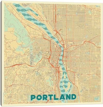 Portland Retro Urban Blueprint Map Canvas Art Print