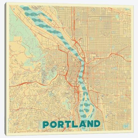 Portland Retro Urban Blueprint Map Canvas Print #HUR309} by Hubert Roguski Canvas Print