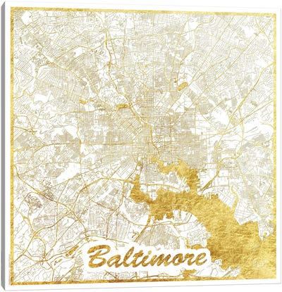 Baltimore Gold Leaf Urban Blueprint Map Canvas Art Print