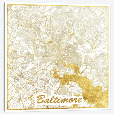 Baltimore Gold Leaf Urban Blueprint Map Canvas Print #HUR30} by Hubert Roguski Canvas Wall Art