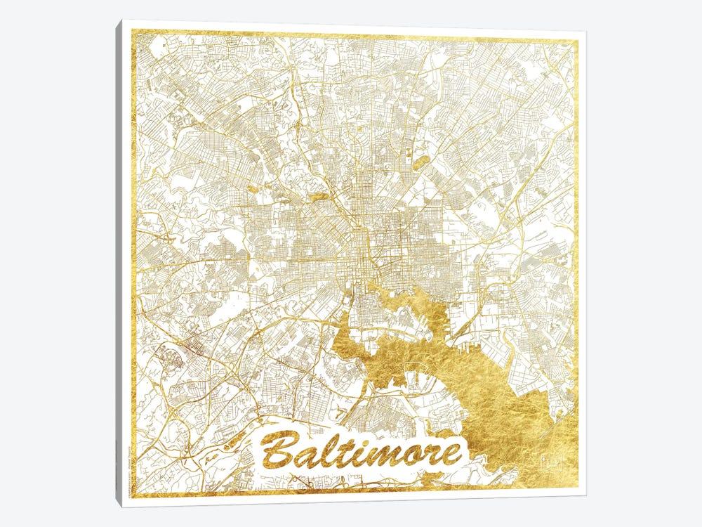Baltimore Gold Leaf Urban Blueprint Map by Hubert Roguski 1-piece Canvas Print
