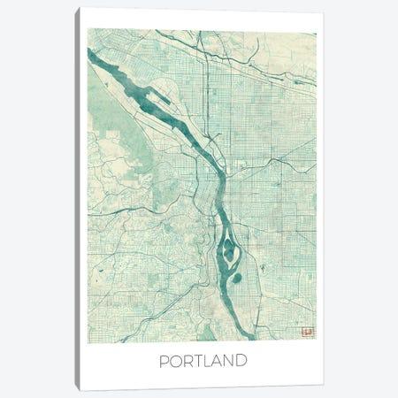 Portland Vintage Blue Watercolor Urban Blueprint Map Canvas Print #HUR310} by Hubert Roguski Canvas Art
