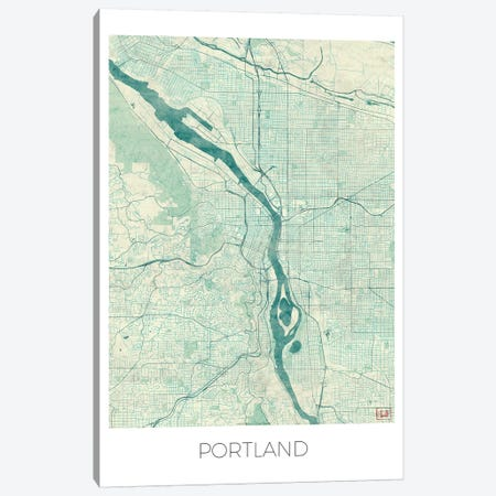 Portland Vintage Blue Watercolor Urban Blueprint Map Canvas Print #HUR310} by Hubert Roguski Canvas Art