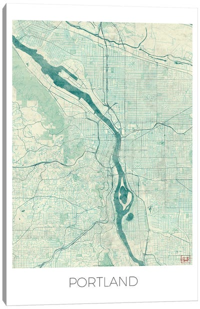 Portland Vintage Blue Watercolor Urban Blueprint Map Canvas Art Print