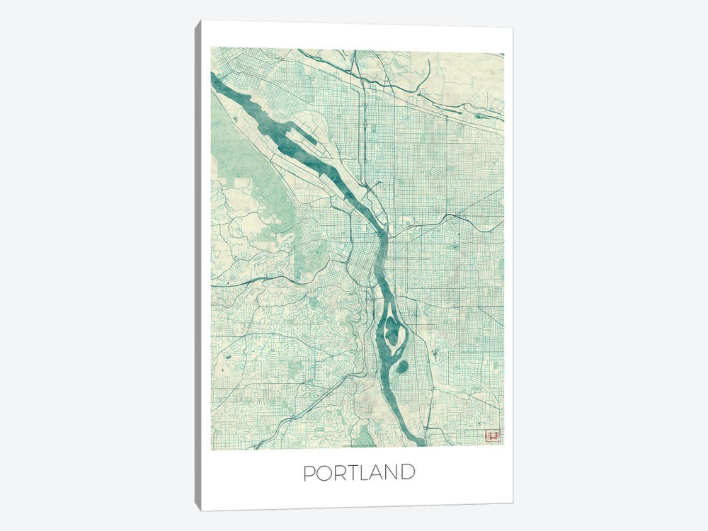 Portland Vintage Blue Watercolor Urban Blueprint Map 1-piece Canvas Print