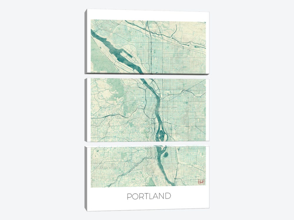 Portland Vintage Blue Watercolor Urban Blueprint Map 3-piece Art Print