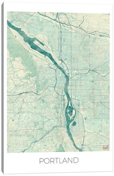 Portland Vintage Blue Watercolor Urban Blueprint Map Canvas Art Print