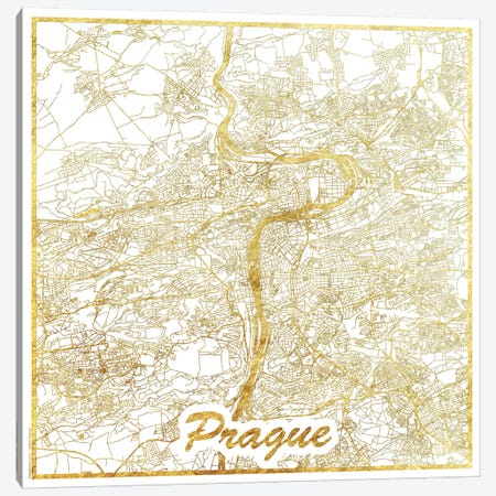 Prague Gold Leaf Urban Blueprint Map 3-Piece Canvas #HUR311} by Hubert Roguski Canvas Artwork