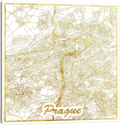 Prague Gold Leaf Urban Blueprint Map Canvas Art Print