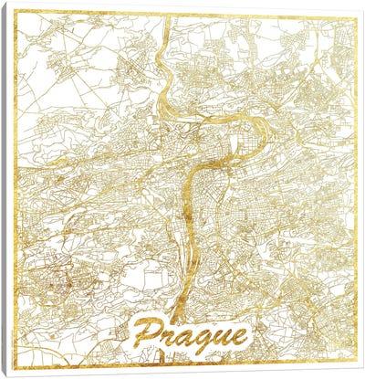 Prague Gold Leaf Urban Blueprint Map Canvas Art Print