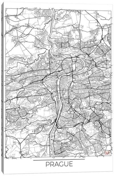 Prague Minimal Urban Blueprint Map Canvas Art Print