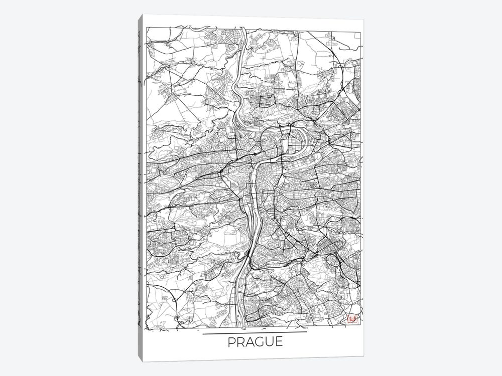 Prague Minimal Urban Blueprint Map by Hubert Roguski 1-piece Canvas Art Print