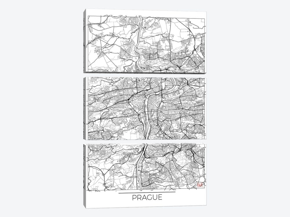 Prague Minimal Urban Blueprint Map by Hubert Roguski 3-piece Canvas Print