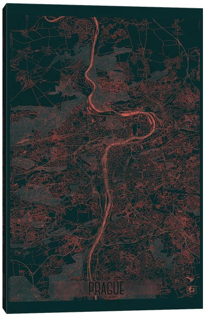 Prague Infrared Urban Blueprint Map Canvas Art Print