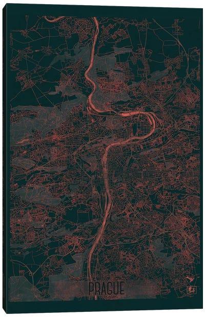 Prague Infrared Urban Blueprint Map Canvas Art Print
