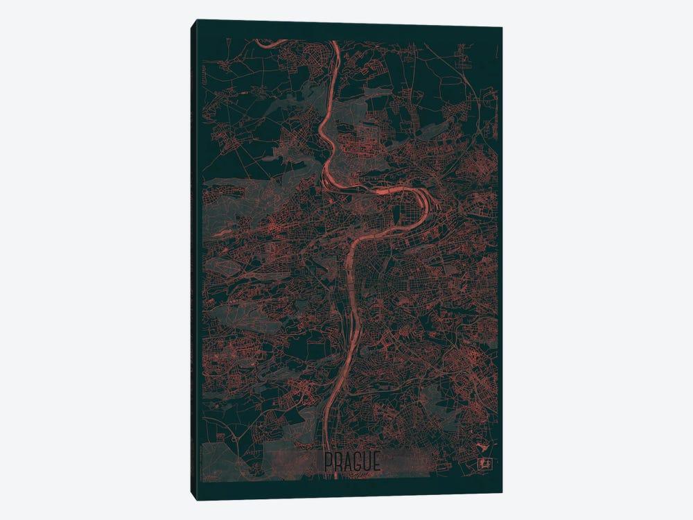 Prague Infrared Urban Blueprint Map by Hubert Roguski 1-piece Canvas Artwork