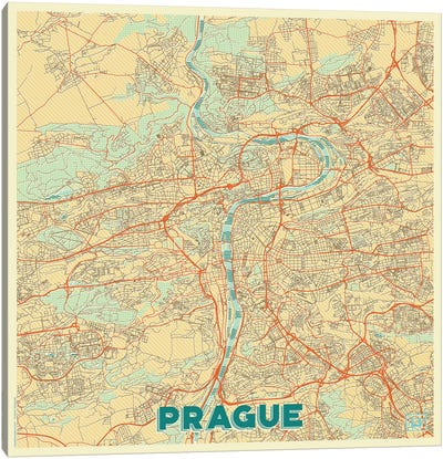 Prague Retro Urban Blueprint Map Canvas Art Print