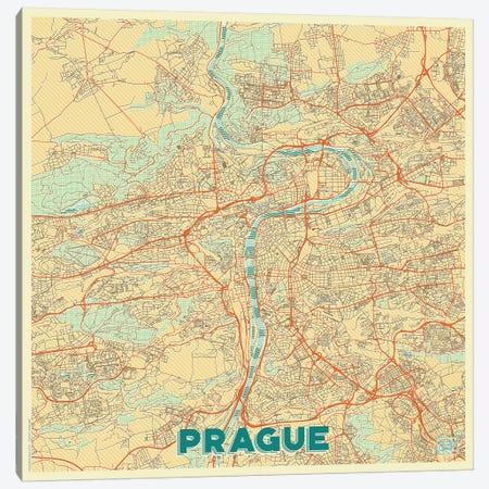 Prague Retro Urban Blueprint Map Canvas Print #HUR314} by Hubert Roguski Canvas Art Print
