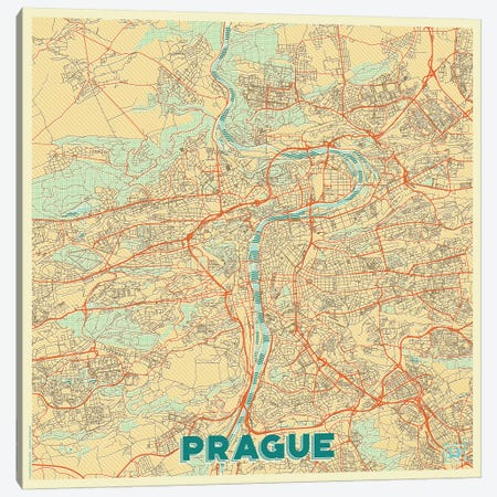 Prague Retro Urban Blueprint Map 3-Piece Canvas #HUR314} by Hubert Roguski Canvas Art Print