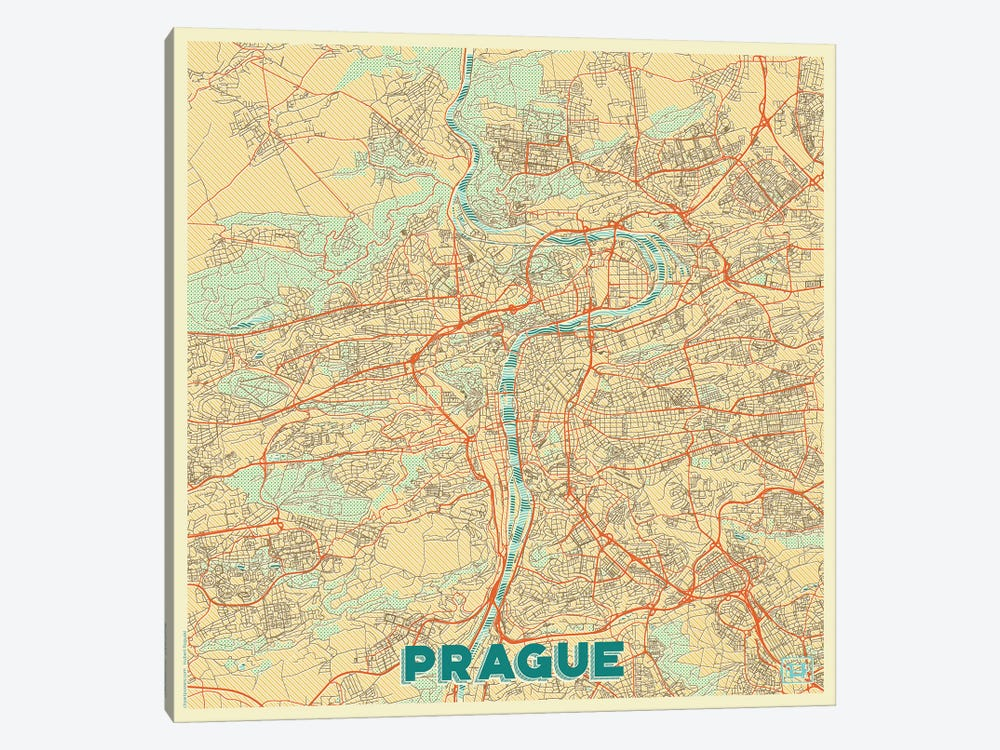 Prague Retro Urban Blueprint Map by Hubert Roguski 1-piece Art Print