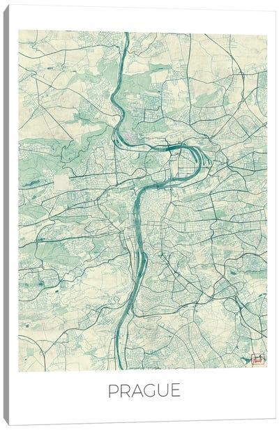Prague Vintage Blue Watercolor Urban Blueprint Map Canvas Art Print