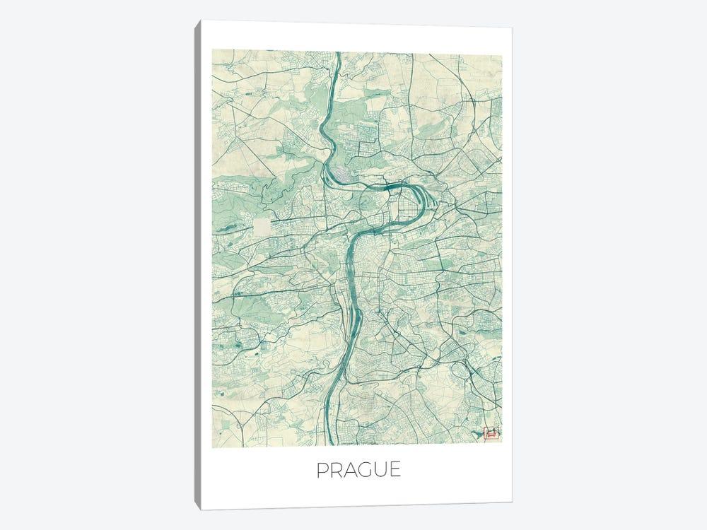 Prague Vintage Blue Watercolor Urban Blueprint Map by Hubert Roguski 1-piece Canvas Wall Art