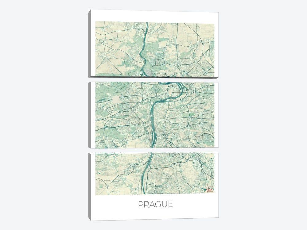 Prague Vintage Blue Watercolor Urban Blueprint Map by Hubert Roguski 3-piece Canvas Art