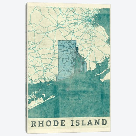 Rhode Island Map 3-Piece Canvas #HUR316} by Hubert Roguski Art Print