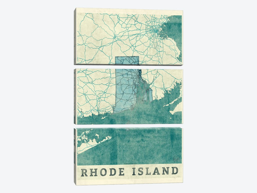 Rhode Island Map by Hubert Roguski 3-piece Canvas Art Print