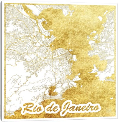 Rio De Janeiro Gold Leaf Urban Blueprint Map Canvas Art Print