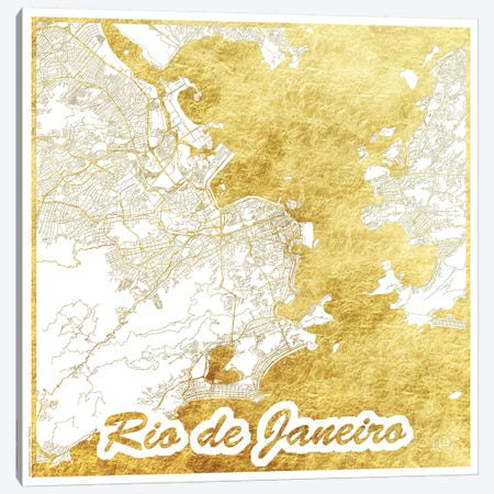 Rio De Janeiro Gold Leaf Urban Blueprint Map Canvas Print #HUR317} by Hubert Roguski Art Print
