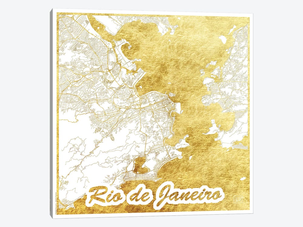 Rio De Janeiro Gold Leaf Urban Blueprint Map by Hubert Roguski 1-piece Canvas Art