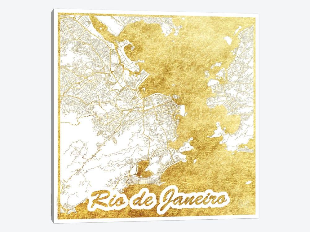 Rio De Janeiro Gold Leaf Urban Blueprint Map by Hubert Roguski 1-piece Canvas Art