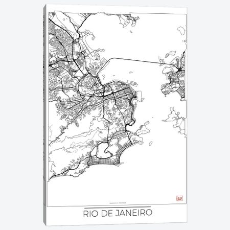 Rio De Janeiro Minimal Urban Blueprint Map Canvas Print #HUR318} by Hubert Roguski Canvas Art